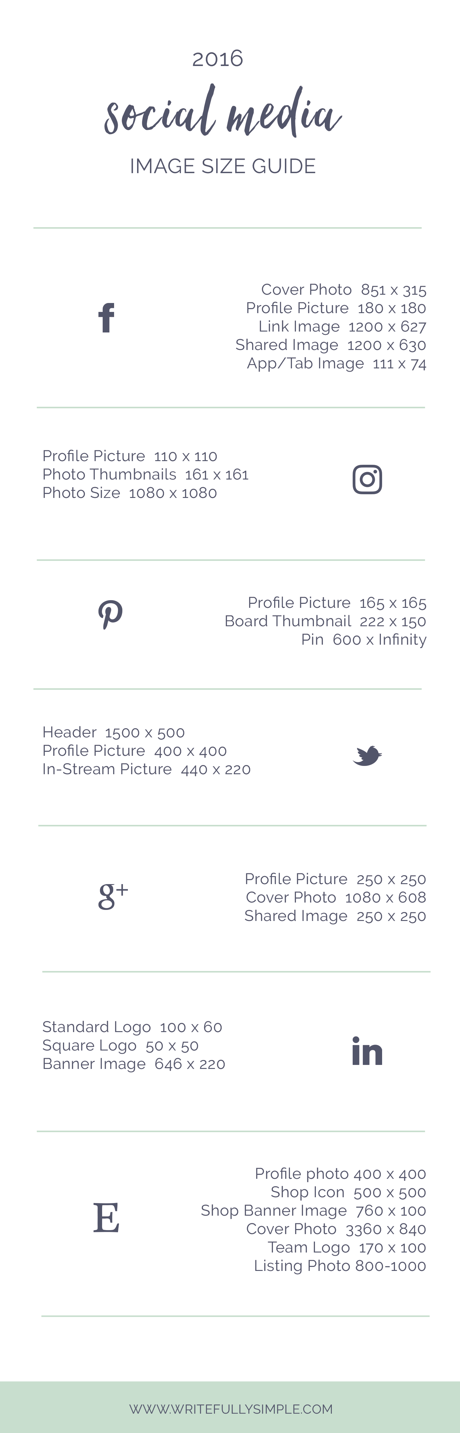 Social Media Image Size Guide | Writefully Simple | Eau Claire, Wisconsin | www.writefullysimple.com